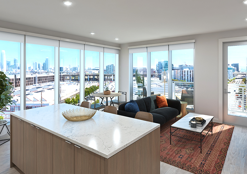 Floor-to-ceiling walls at our city view apartments near San Francisco